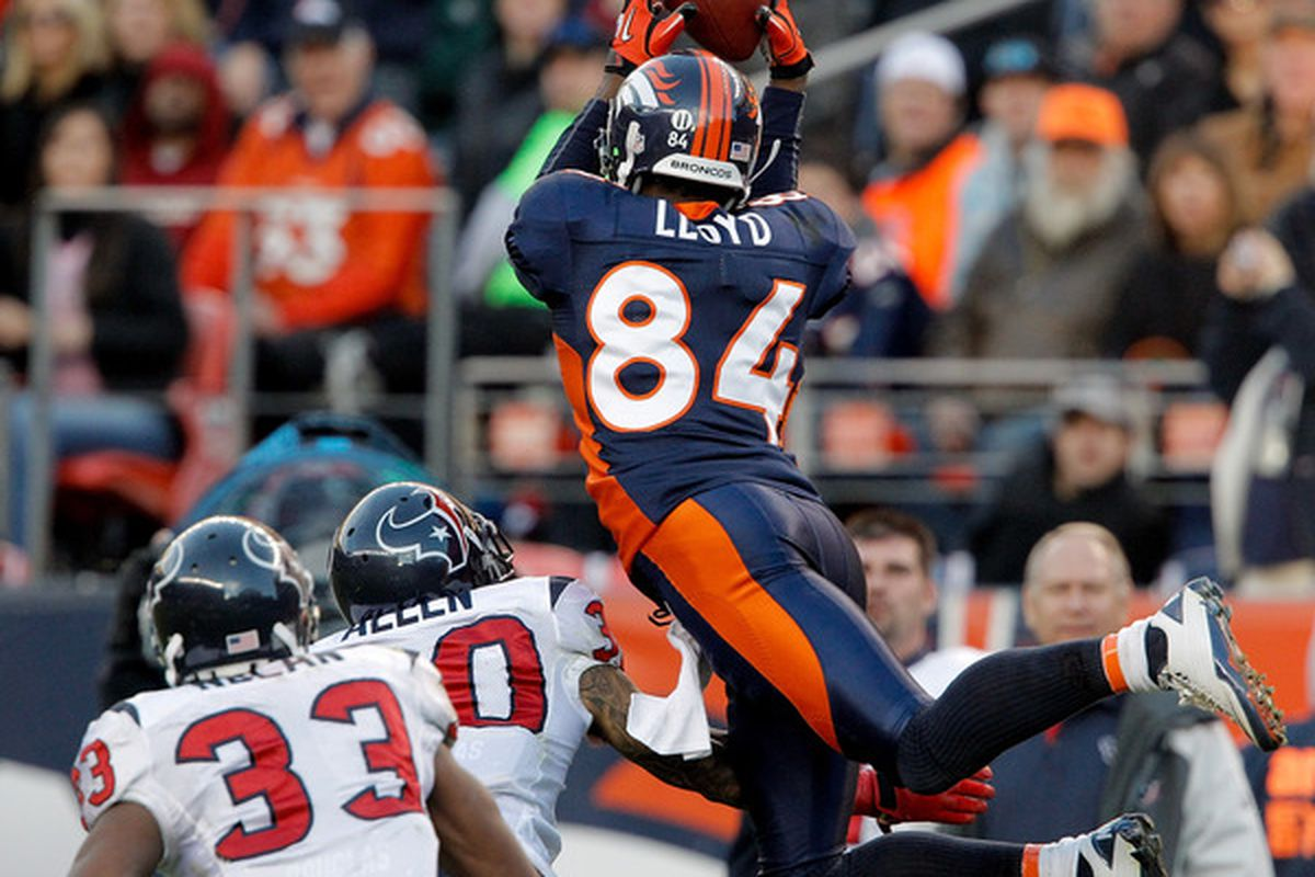 Denver Broncos wide receiver Brandon Lloyd had a Pro Bowl season in 2010, but he isn't the Greatest Bronco to wear #84.(Photo by Justin Edmonds/Getty Images)