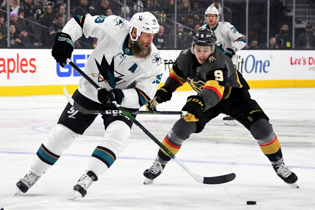 Joe Thornton #19 of the San Jose Sharks skates with the puck against Cody Glass #9 of the Vegas Golden Knights in the first period of their game at T-Mobile Arena on November 21, 2019 in Las Vegas, Nevada. The Sharks defeated the Golden Knights 2-1 in overtime.