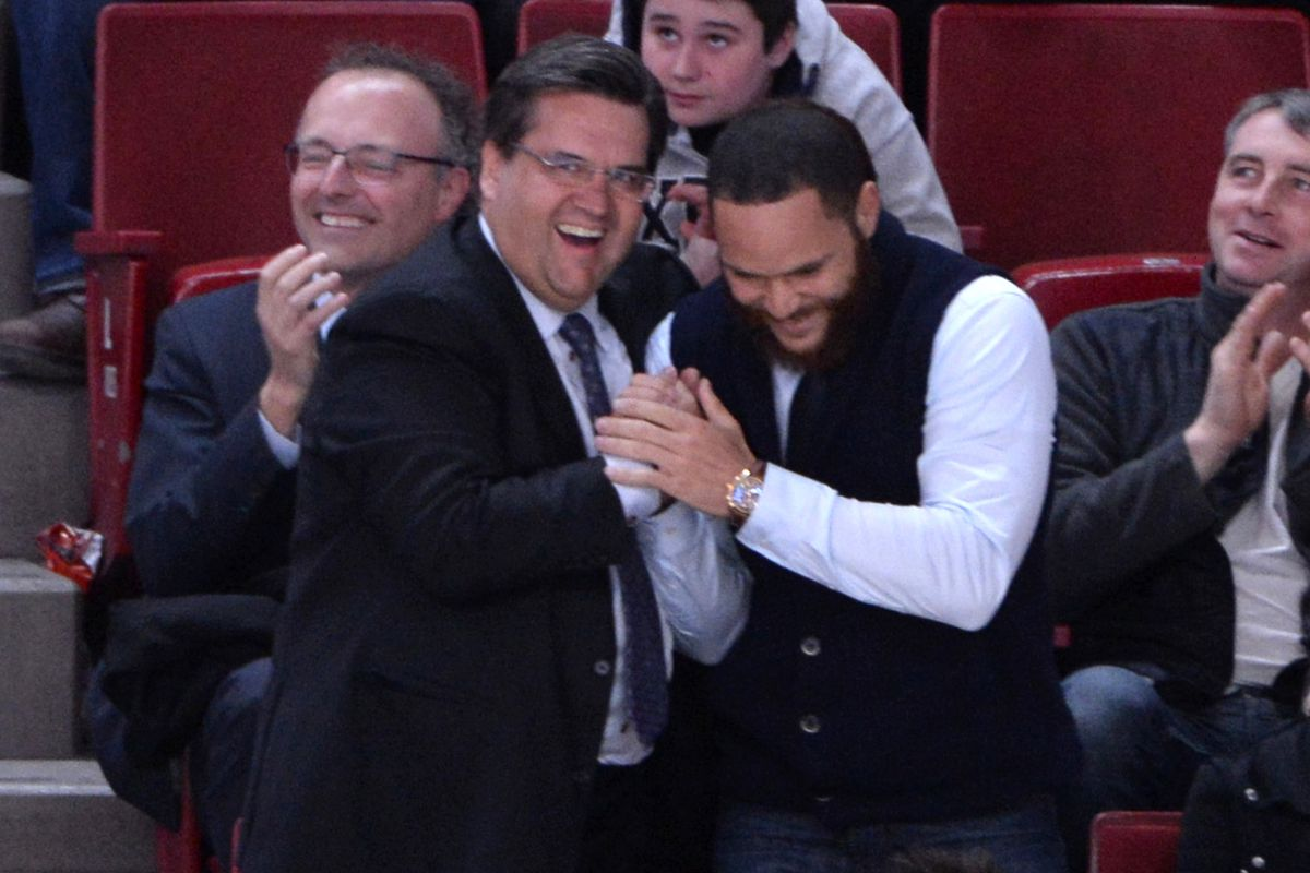 Montreal Mayor Denis Coderre and the real mayor of Montreal, Russell Martin at the Habs game on Thursday evening