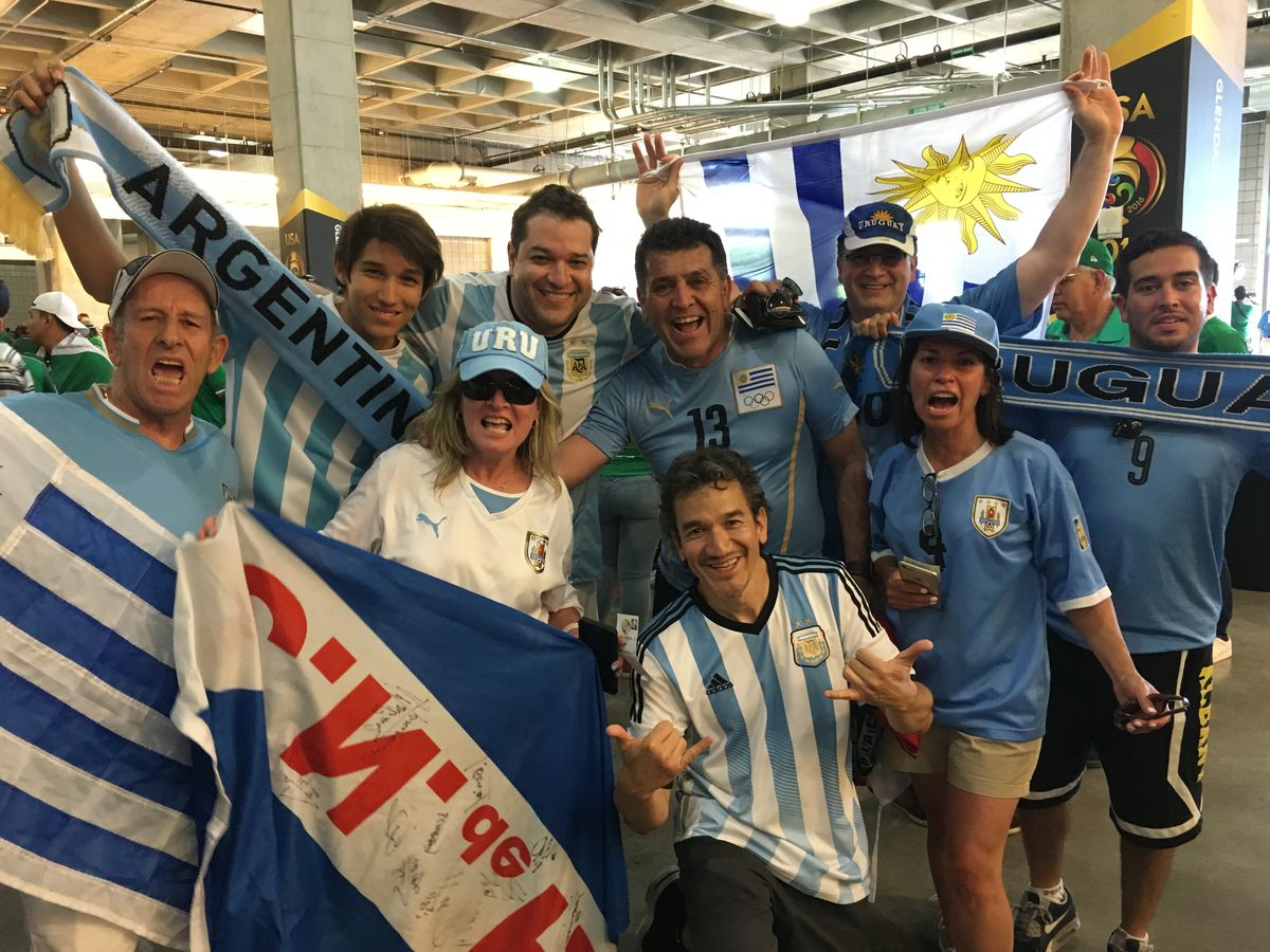 Uruguay supporters (and one Argentina scarf)