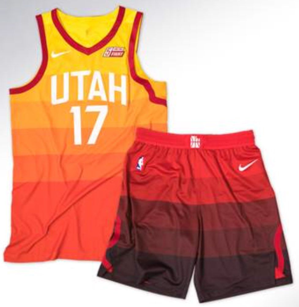 The uniforms are inspired by the sunset in Utah and its southern canyons  and red rocks. The uniforms showcase the different shades of orange ddccc9027