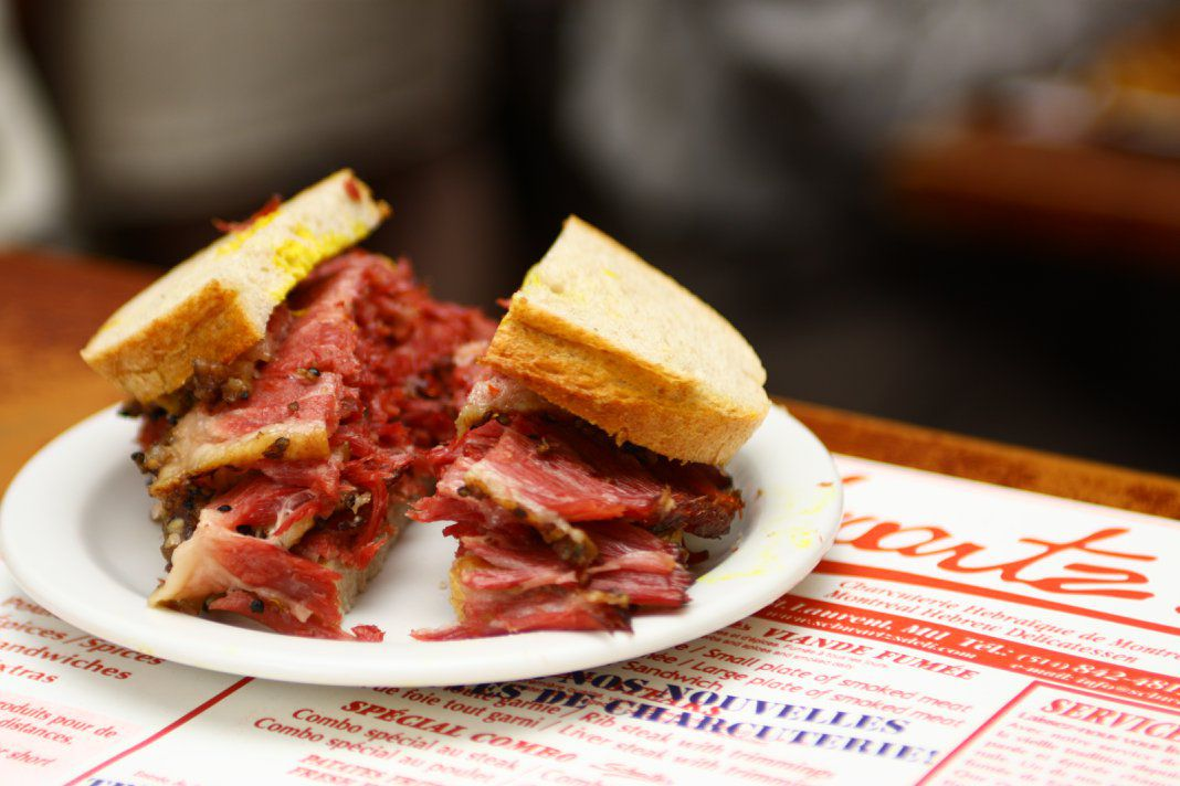 A Schwartz smoked meat sandwich.