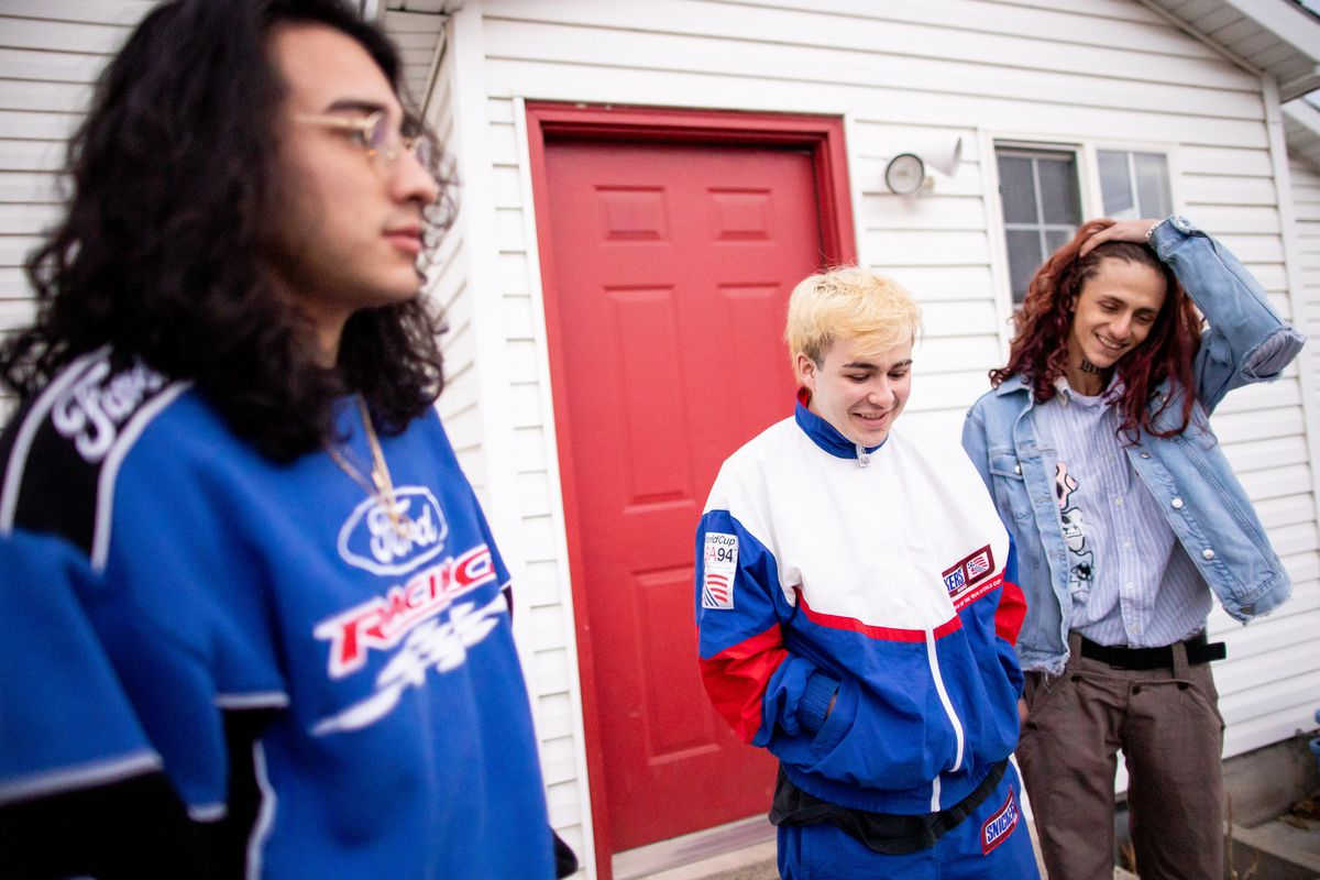"""Tony """"Outset"""" Muriel, Dante """"Outset"""" Rios and Nolan """"Outset"""" Leyba reminisce about their friend, Thompson """"Outset"""" Kamara, while talking to journalists in South Salt Lake on Friday, Jan. 8, 2021. The group members all use the nickname """"Outset,"""" which is the name of their music and fashion collective. Kamara, 21, was gunned down on Dec. 30, 2020, outside of the Salt Lake convenience store where he worked."""