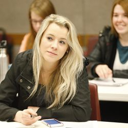 Sydnee Gay and other 18-30-year-old students meet during a Pathway gathering in Orem on Feb. 16, 2017. Pathway is a pre-college, low-cost bridge to higher education.