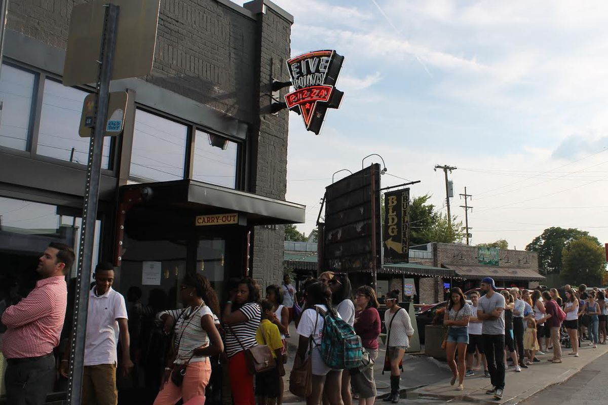 Pizza diehards line up for last year's 'Free Slice Night' at Five Points Pizza.