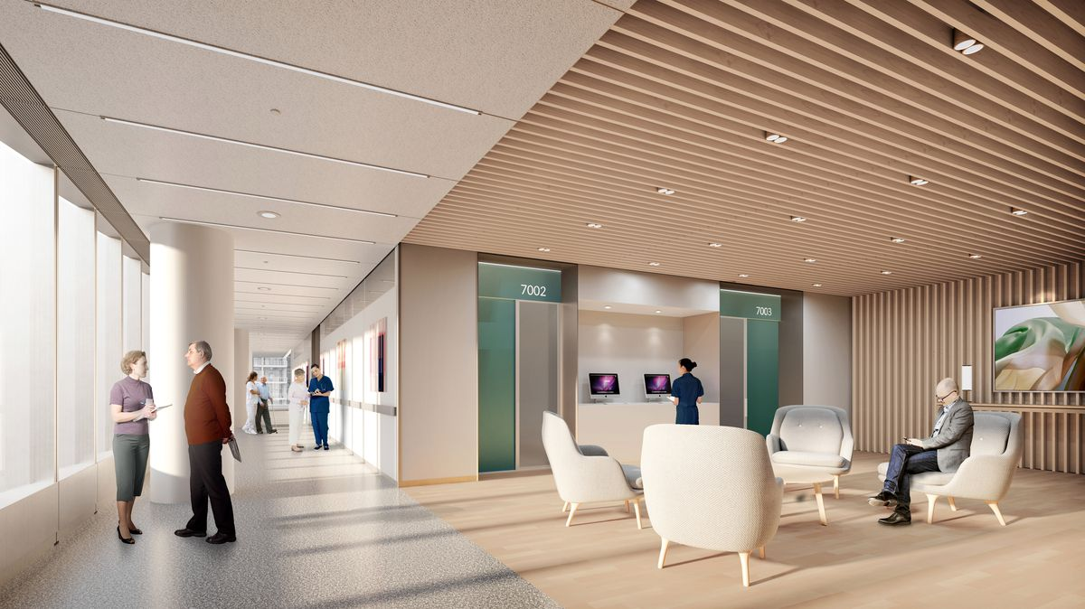 Rendering of large seating area with chairs and hallway off to the left.