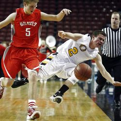 Orem's #2 Zach Hunsaker, right, is fouled hard by Bountiful's #5 Sam Merrill as they run up the court as Bountiful and Orem play in the 4A semifinals Friday, March 2, 2012 at the Maverik Center in West Valley.