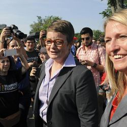 California's Proposition 8 plaintiffs, Kris Perry and Sandy Steir walk into the Supreme Court in Washington, Wednesday, June 26, 2013.  The Supreme Court is meeting to deliver opinions in two cases that could dramatically alter the rights of gay people across the United States. The justices are expected to decide their first-ever cases about gay marriage Wednesday in their last session before the court's summer break.  (AP Photo/Cliff Owen)