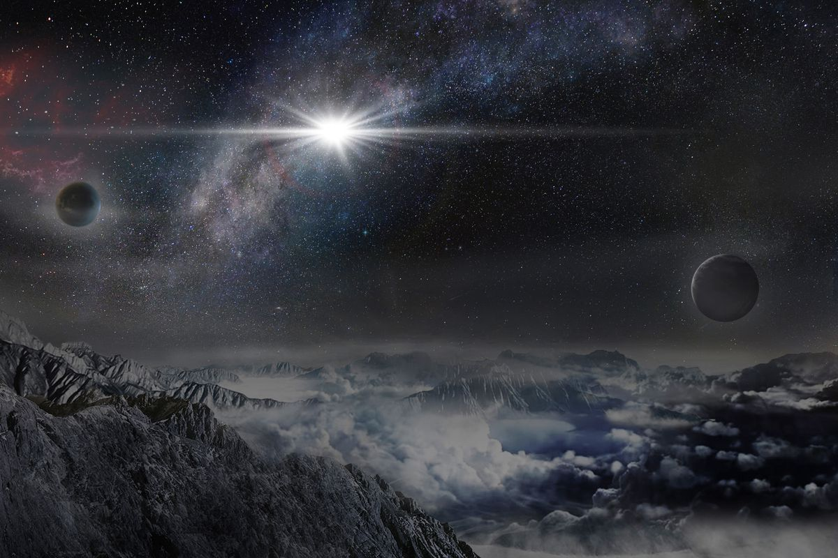 An artist's impression of the record-breakingly powerful, superluminous supernova ASASSN- 15lh as it would appear from an exoplanet located about 10,000 light-years away in the host galaxy of the supernova.