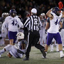 Weber State Wildcats defensive lineman Cardon Malan celebrates sacking Southern Utah Thunderbirds quarterback Patrick Tyler during NCAA football in Cedar City on Saturday, Dec. 2, 2017.