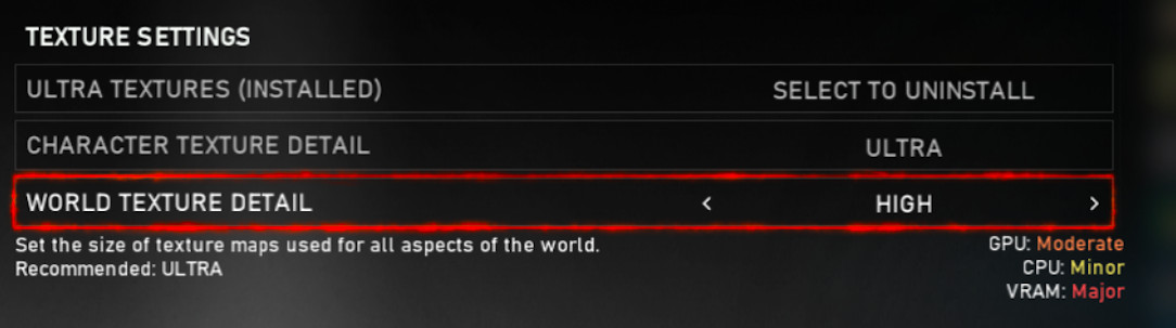 """a screenshot of the PC graphics settings in Gears 5, with """"world texture detail"""" highlighted"""