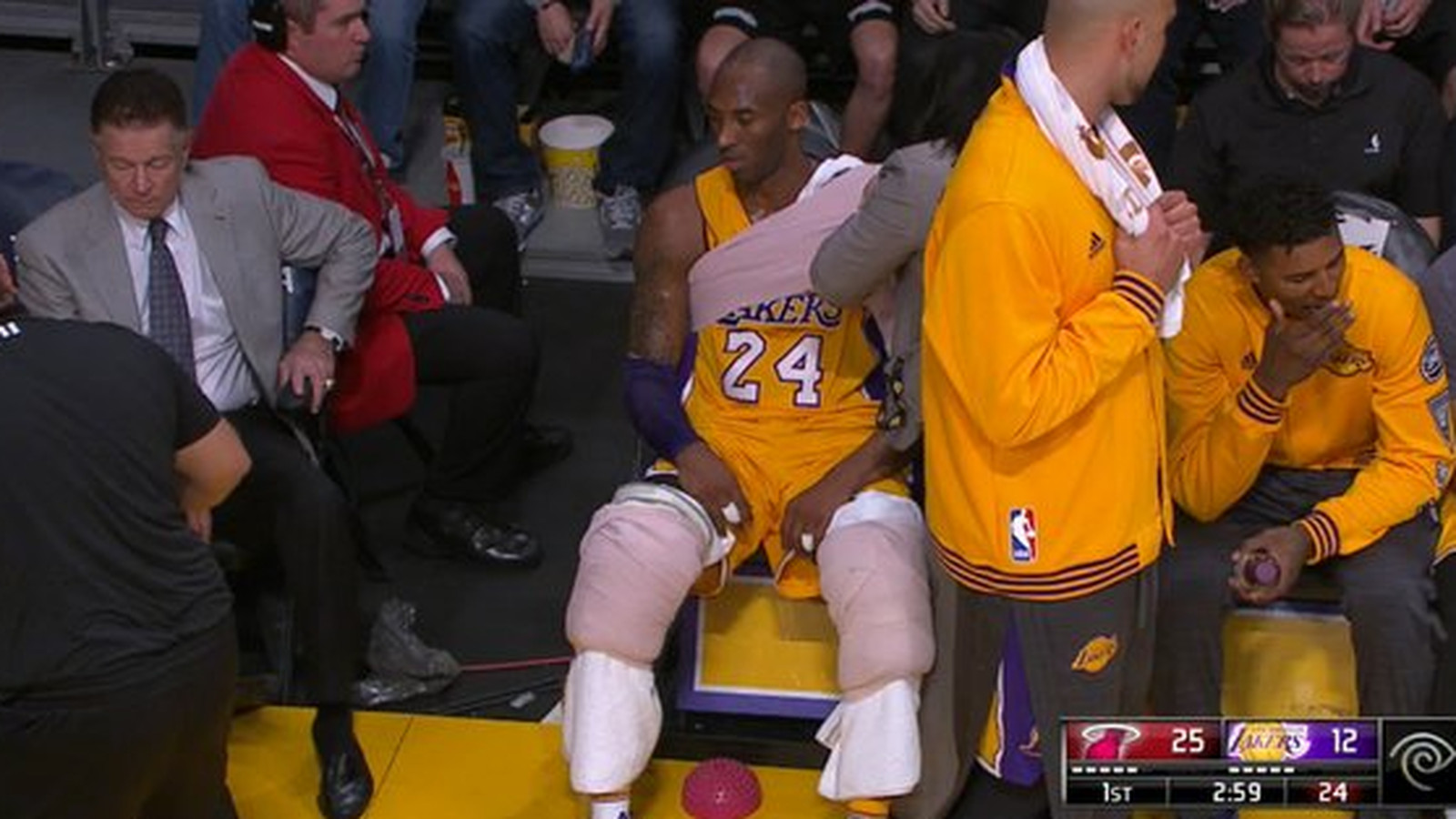 Kobe Bryant needs so many ice packs and wraps he looks like the dang Michelin Man - SBNation.com