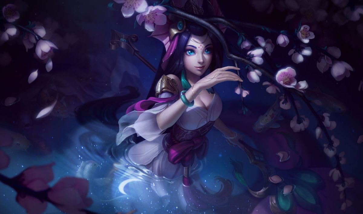 Splendid Staff Nami swims below cherry blossoms