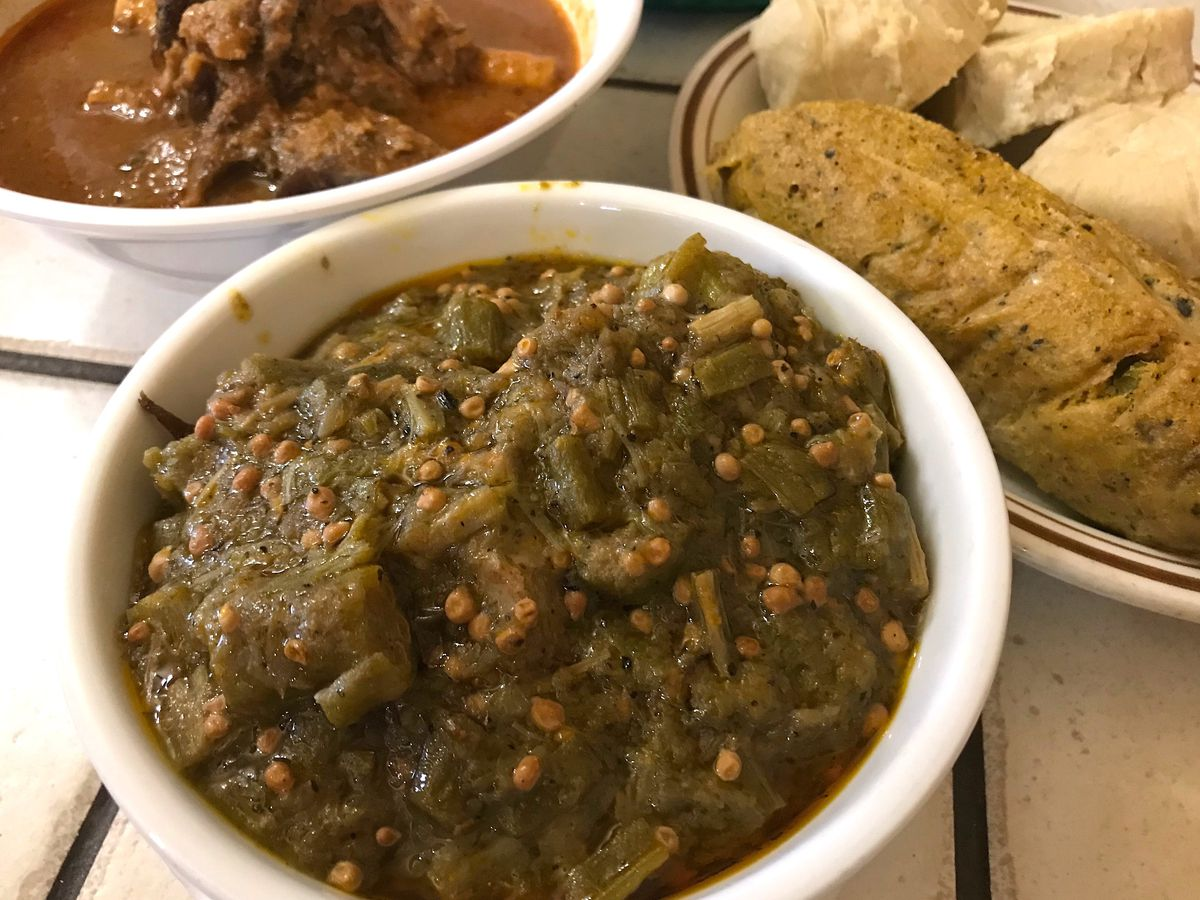 Okra and lamb stew with kenkey