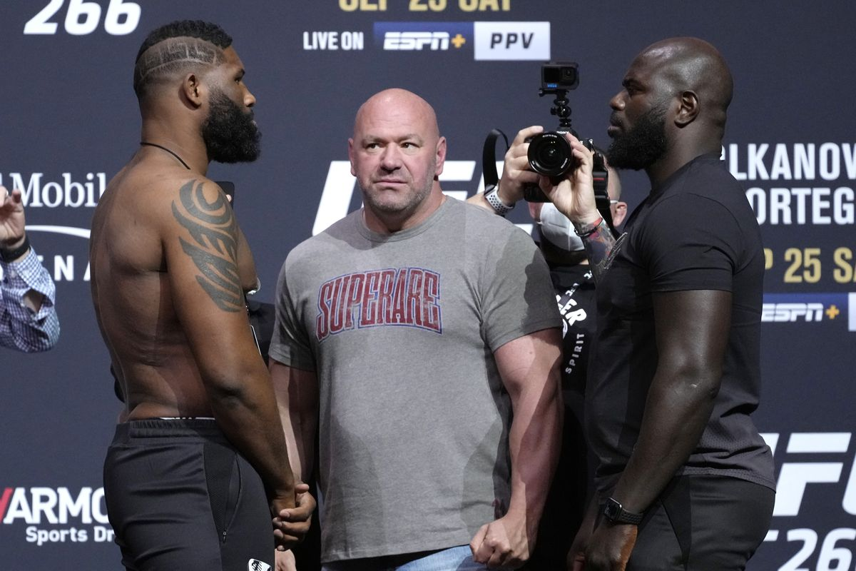 Opponents Curtis Blaydes and Jairzinho Rozenstruik of Suriname face off during the UFC 266 ceremonial weigh-in at Park Theater on September 24, 2021 in Las Vegas, Nevada.