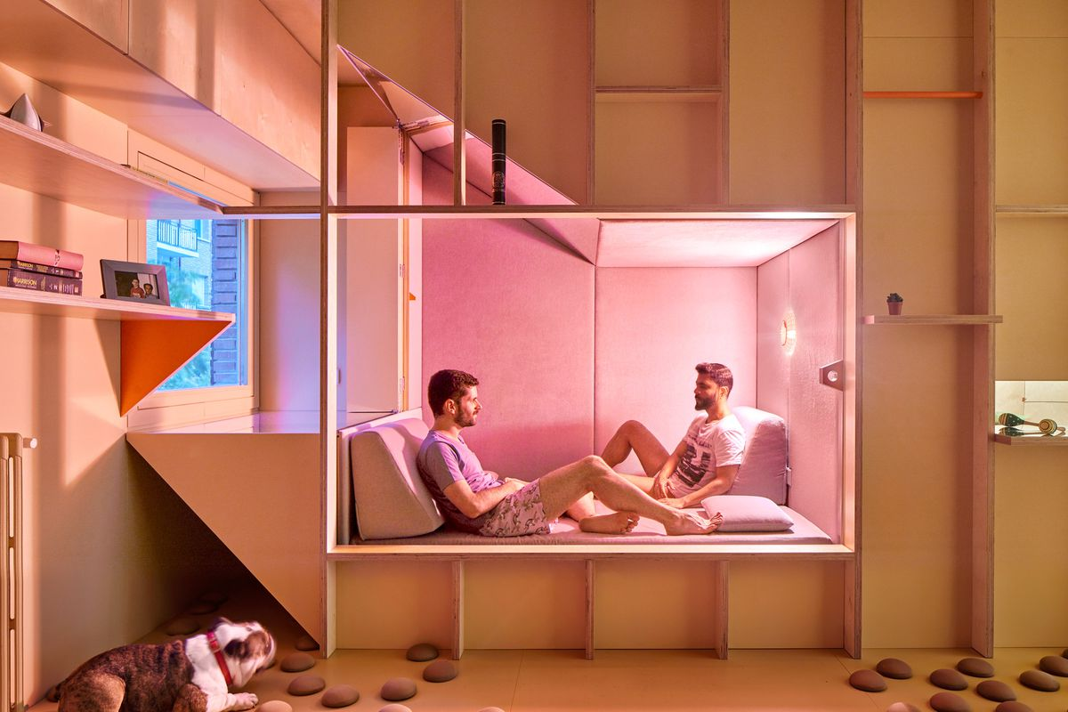 Men sitting in napping nook