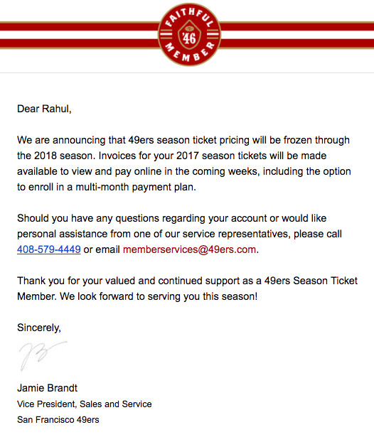 49ers Announce Season Ticket Price Freeze Will Continue For 2017 And 2018 Niners Nation