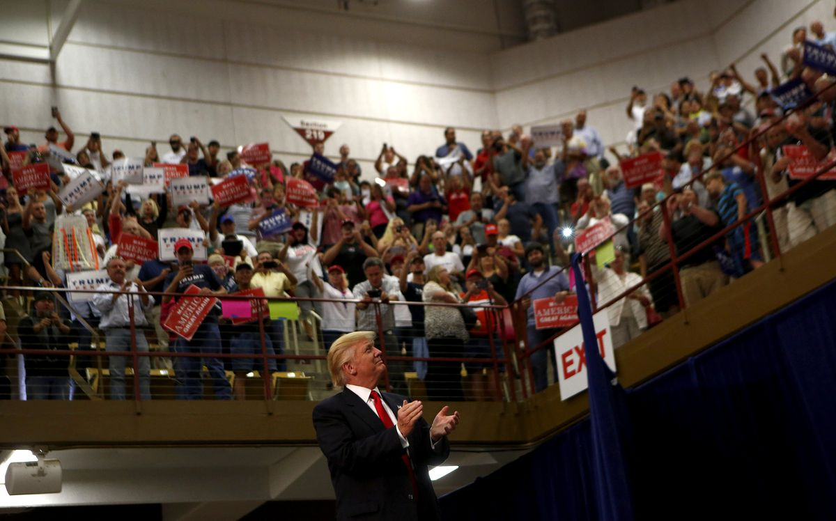 Donald Trump with supporters at a rally in Asheville, NC.