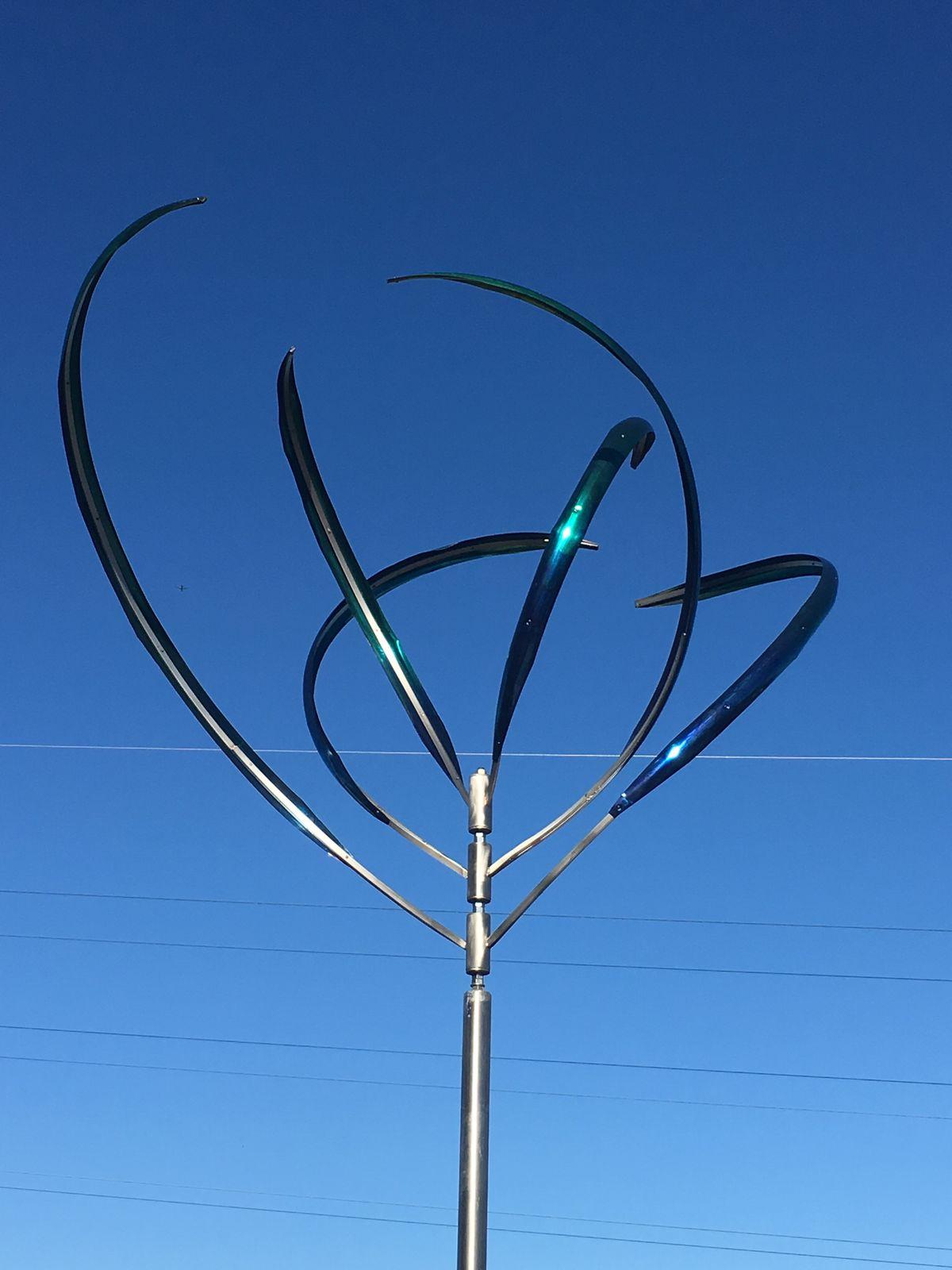 Wind sculpture on Building 20 terrace.