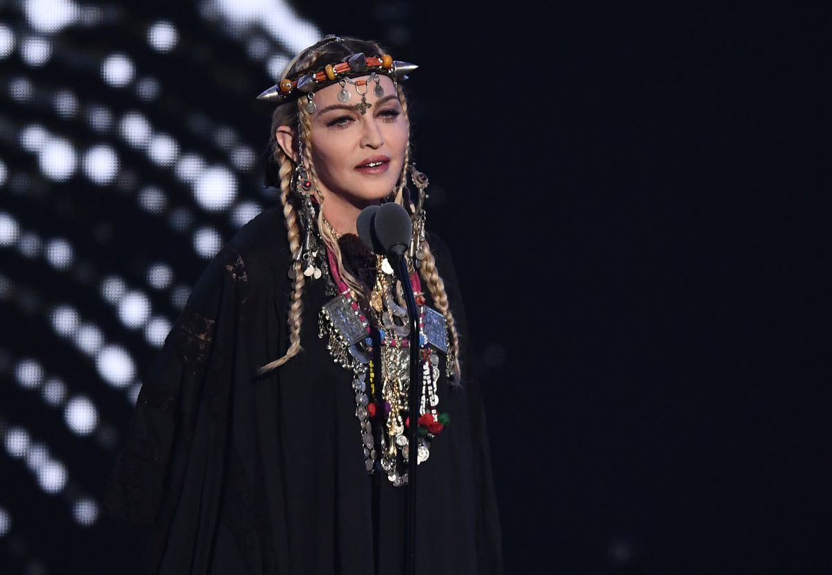 Madonna speaks onstage during the 2018 MTV Video Music Awards at Radio City Music Hall.