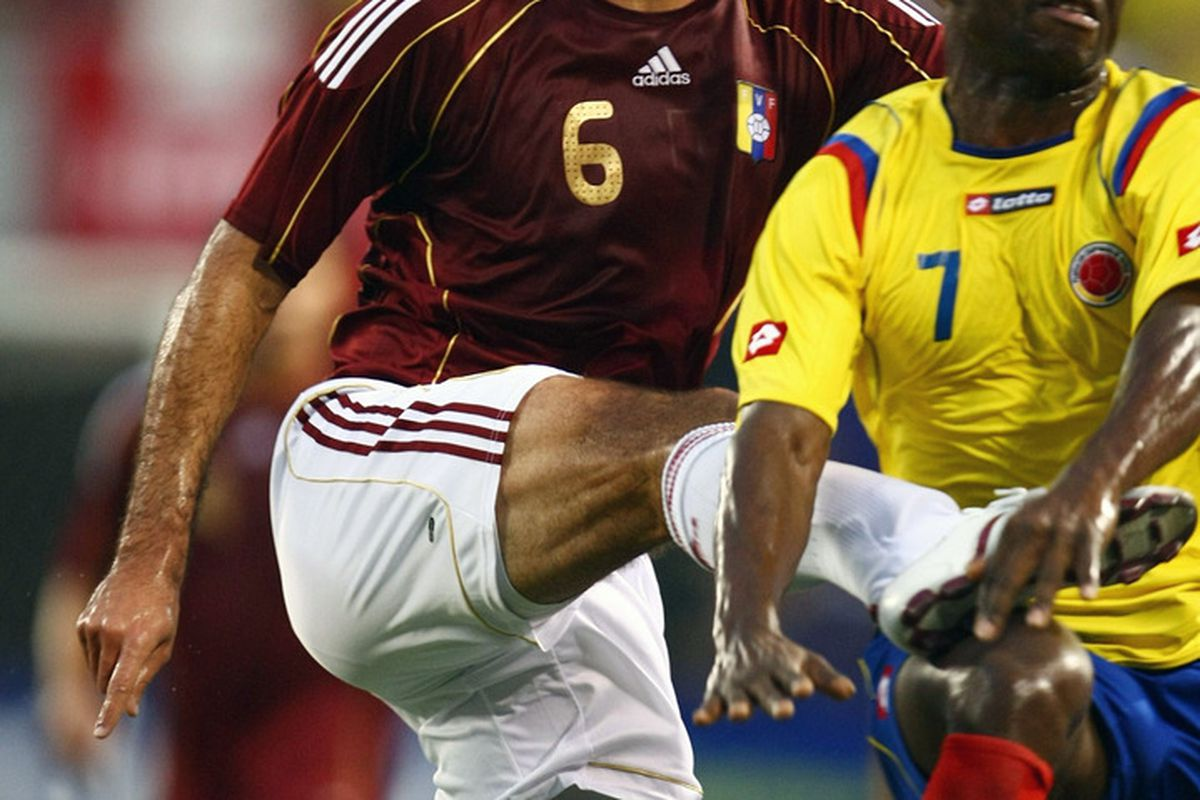 Oswaldo Vizcarrondo, Venezuelan international defender, while playing for his national team in a CONMEBOL World Cup qualifying match against Colombia.