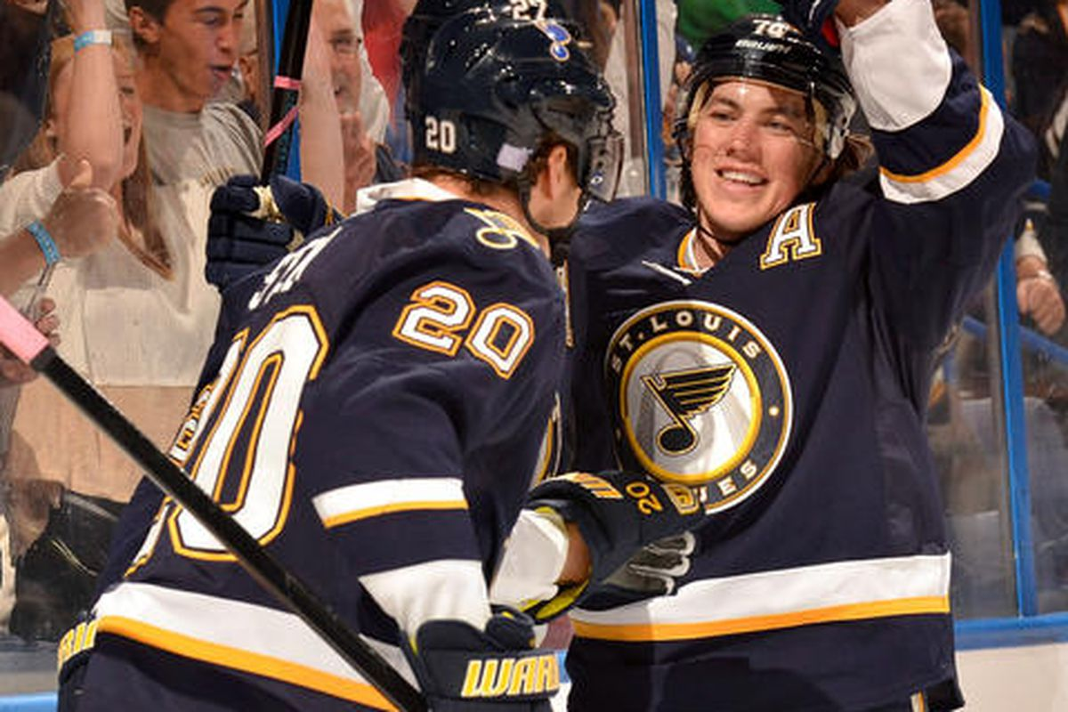 Hockey Hugs! Love for Osh after his goal with his good pal Steener!