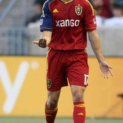 Real Salt Lake's Chris Wingert yells to his teammates during a soccer game against Houston at the Rio Tinto Stadium in Sandy on Saturday, Aug. 10, 2013. Real Salt Lake won 1-0.