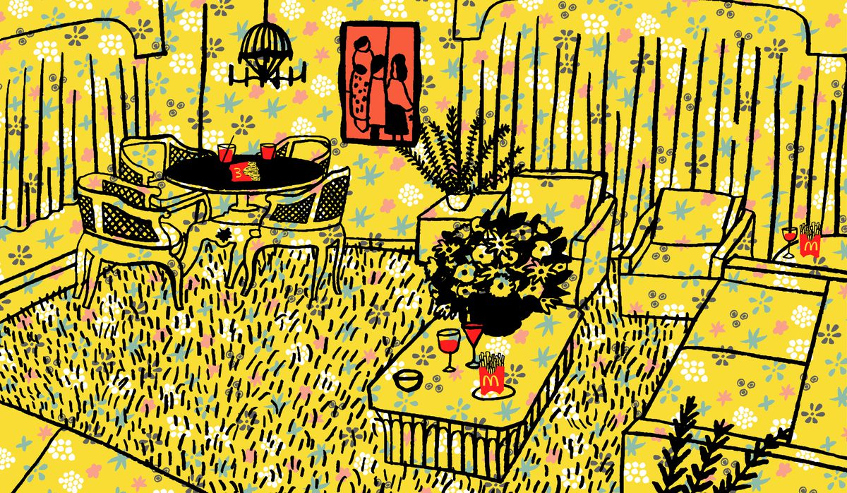 An illustration of a room in the Kroc ranch, with yellow patterned wallpaper covering the entire space.