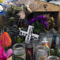 A memorial for Adam Toledo, located near 24th St. and Sawyer Ave is seen near the location where Adam Toledo was shot and killed by police Thursday, April 15, 2021 in Chicago. Adam Toledo, a 13-year-old Chicago boy appears to have dropped a handgun and begun raising his hands less than a second before a police officer shot and killed him last month, footage released Thursday under community pressure shows.