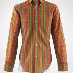 John Stephen man's shirt, printed cotton, circa 1965, England, gift of Valerie Steele.
