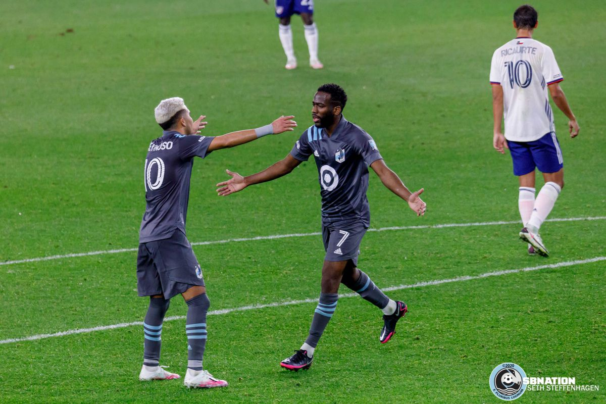 November 8, 2020 - Saint Paul, Minnesota, United States - Minnesota United midfielders Emanuel Reynoso (10) and Kevin Molino (7) celebrate a goal they scored together against with FC Dallas at Allianz Field.