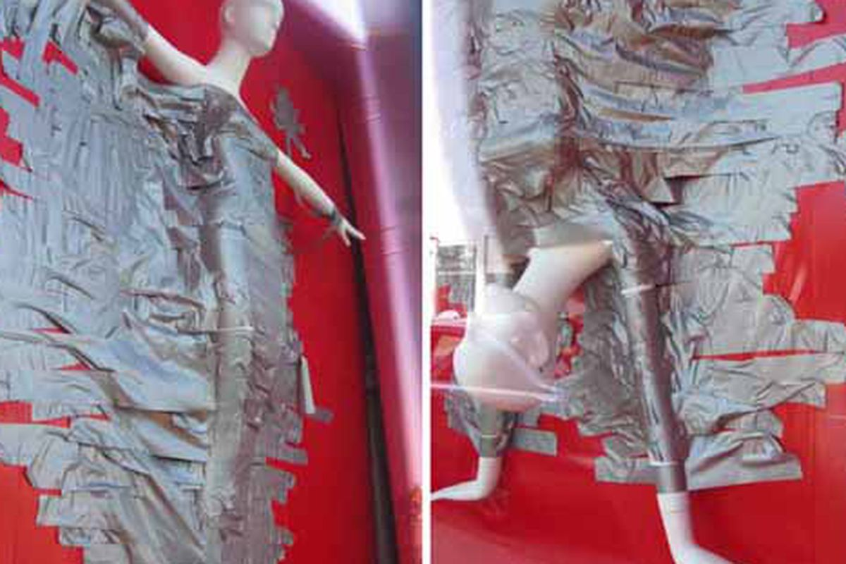 """Marc Jacobs goes crazy with the duct tape on Melrose. Image via <a href=""""http://blackburnandsweetzer.com/2009/05/27/shops-fashion-bound-at-marc-jacobs/"""">Blackburn &amp; Sweetzer</a><span></span>"""