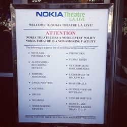 After taking as many selfies as possible on the red carpet, you're led to the Nokia Theatre entrance where you encounter a lengthy list of prohibited items. (No fireworks or beach balls? No fun.)