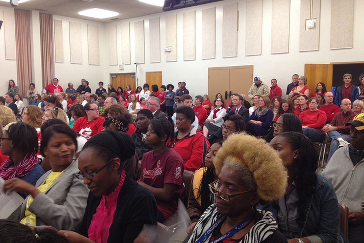 At a Shelby County Schools board meeting October 2013, people who wanted to see a separate Germantown school district wore red.