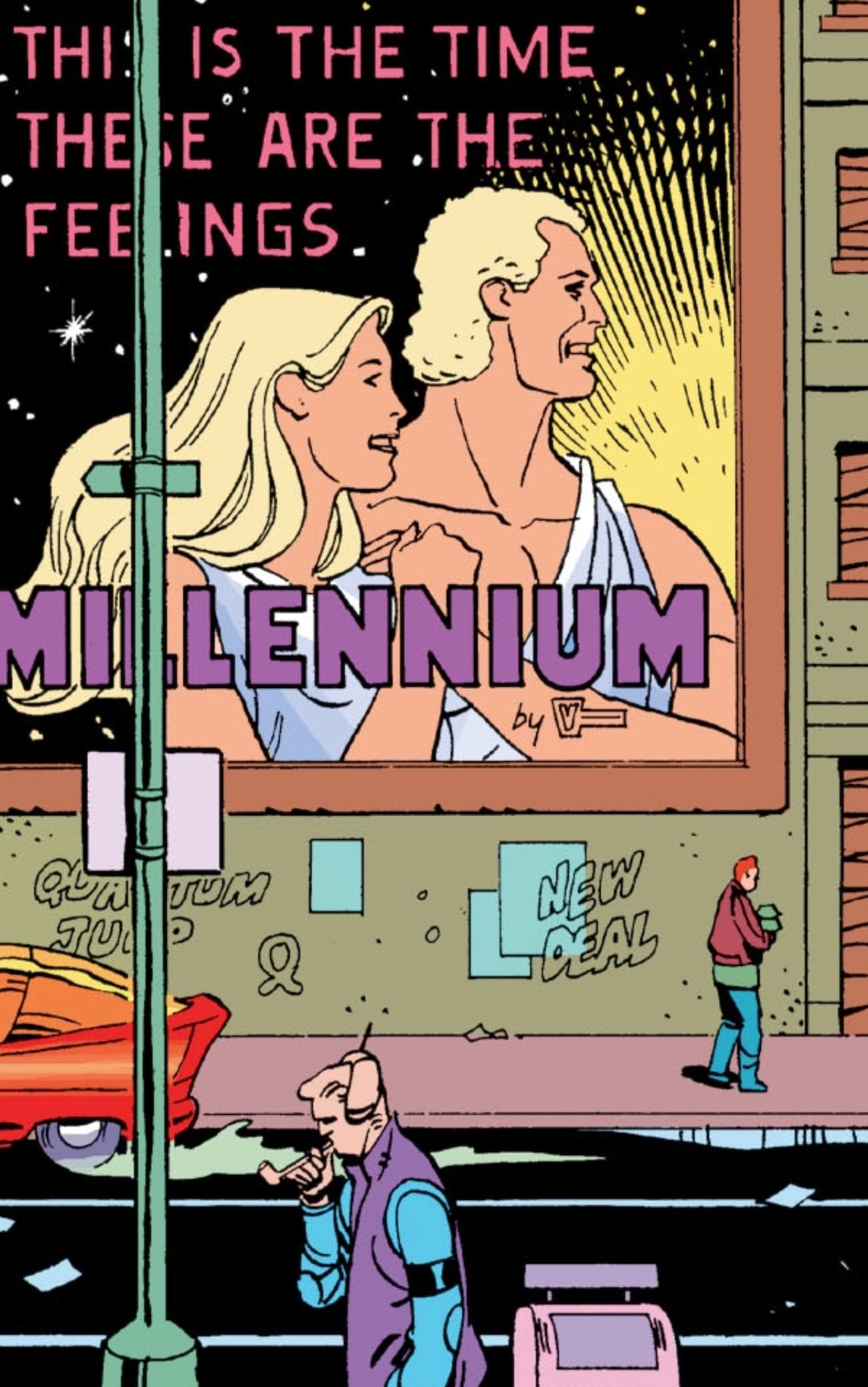 """A giant billboard shows a blond man and women in toga-like raiments facing a growing light and smiling. """"This is the time. These are the feelings. Millennium by Veidt,"""" it says. From Watchmen, DC Comics (1987)."""