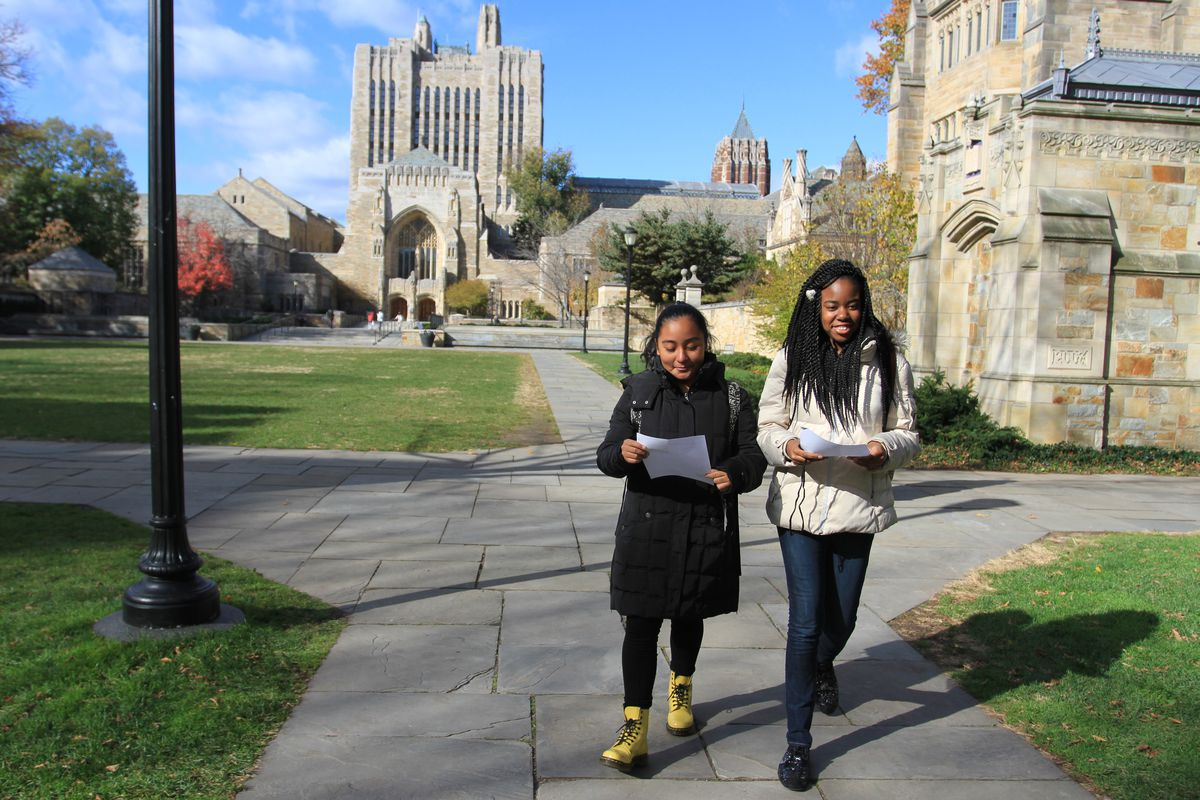 Veronica Gonzalez, an eighth-grader at Manhattan's M.S. 324, and Jennora Blair, an eighth-grader at East Side Community High School, attend a day of classes at Yale University.
