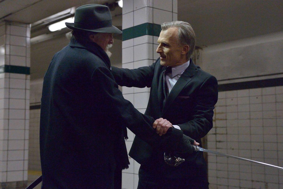 Setrakian (David Bradley, left) and Eichorst (Richard Sammel) have a showdown on a subway platform.