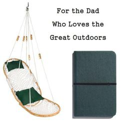 """Island Hammock, $289 at <a href=""""http://www.jpeterman.com/Mens-Accessories/Island-Hammock"""">The J. Peterman Company</a> and 5.25"""" x 8.25"""" Hard Linen Cover Journal in Forest Pine, $17.95 at <a href=""""http://www.shinola.com/shop/journals/5-25-x-8-25-hard-line"""