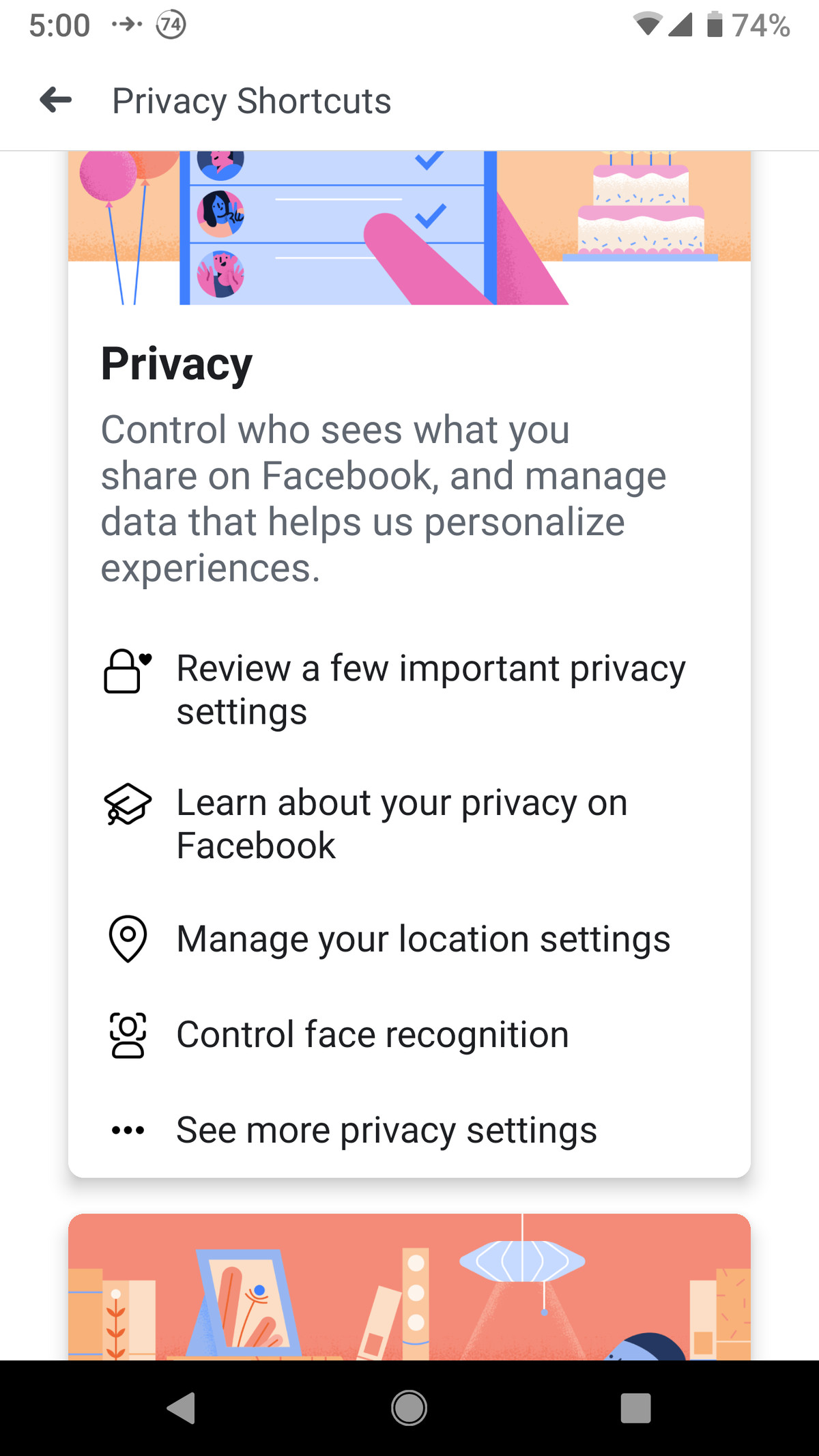 Facebook mobile checkup
