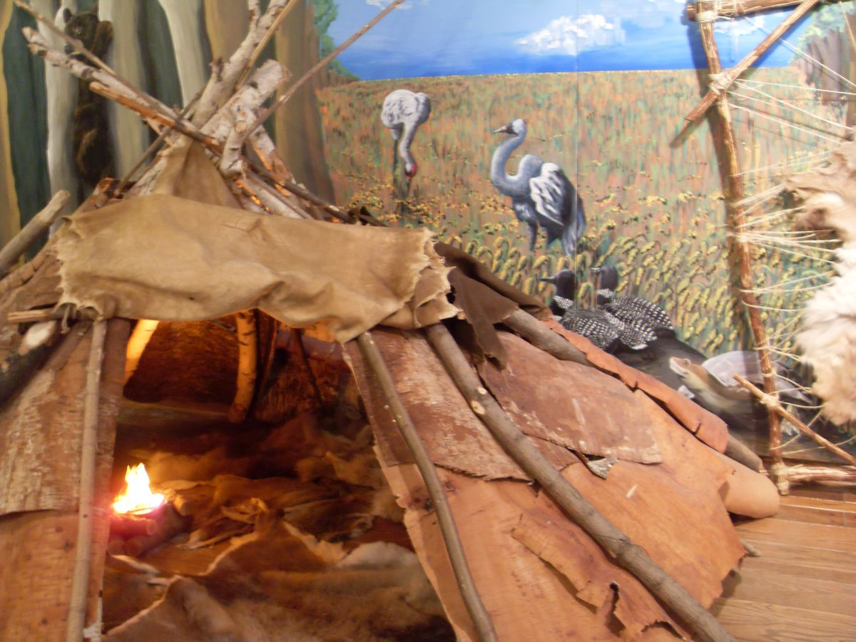 A hunting wigwam is featured in the Heritage Markers exhibit at the Mitchell Museum of the American Indian. | COURTESY OF THE MUSEUM