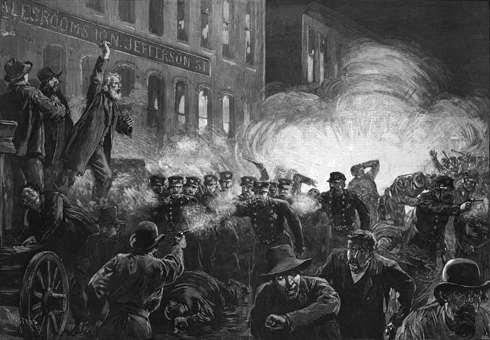 This 1886 engraving shows Methodist pastor Samuel Fielden speaking, the bomb exploding, and the riot beginning simultaneously.