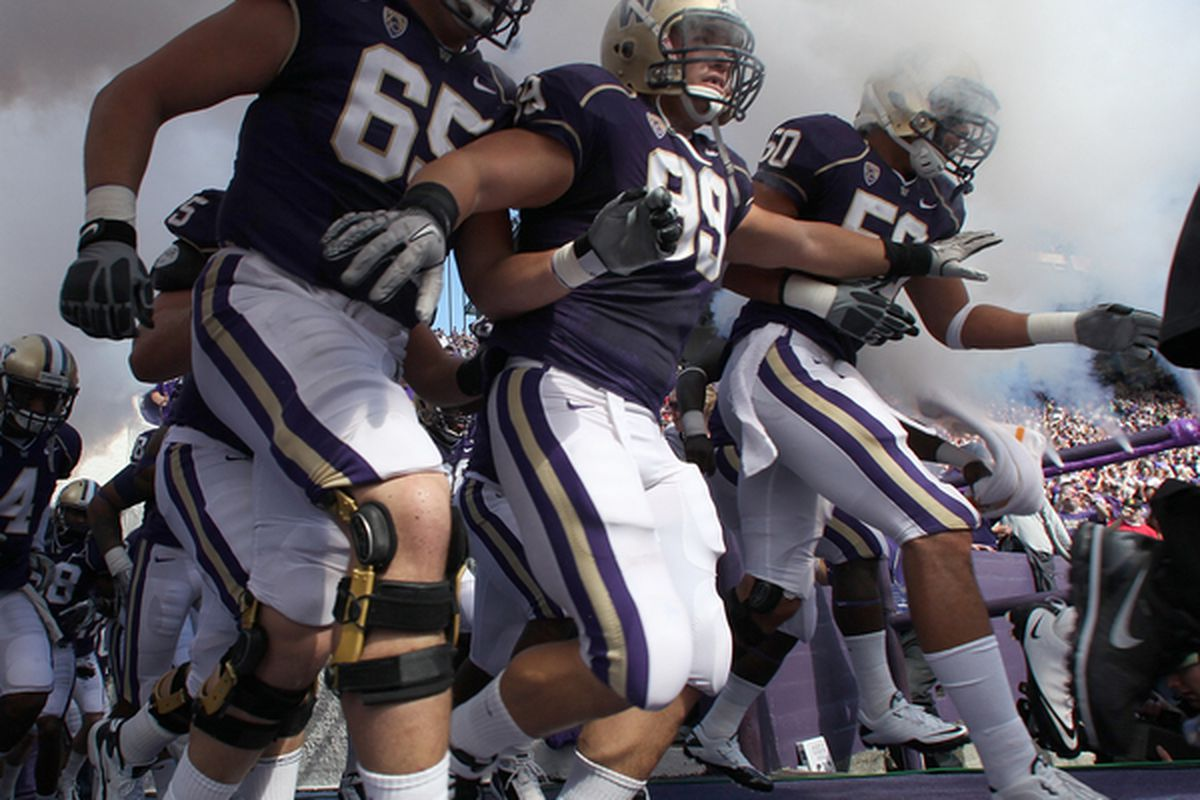<em>Huskies charged out fired up and ready to go against Nebraska earlier this season. They ended up losing 21-56. </em>