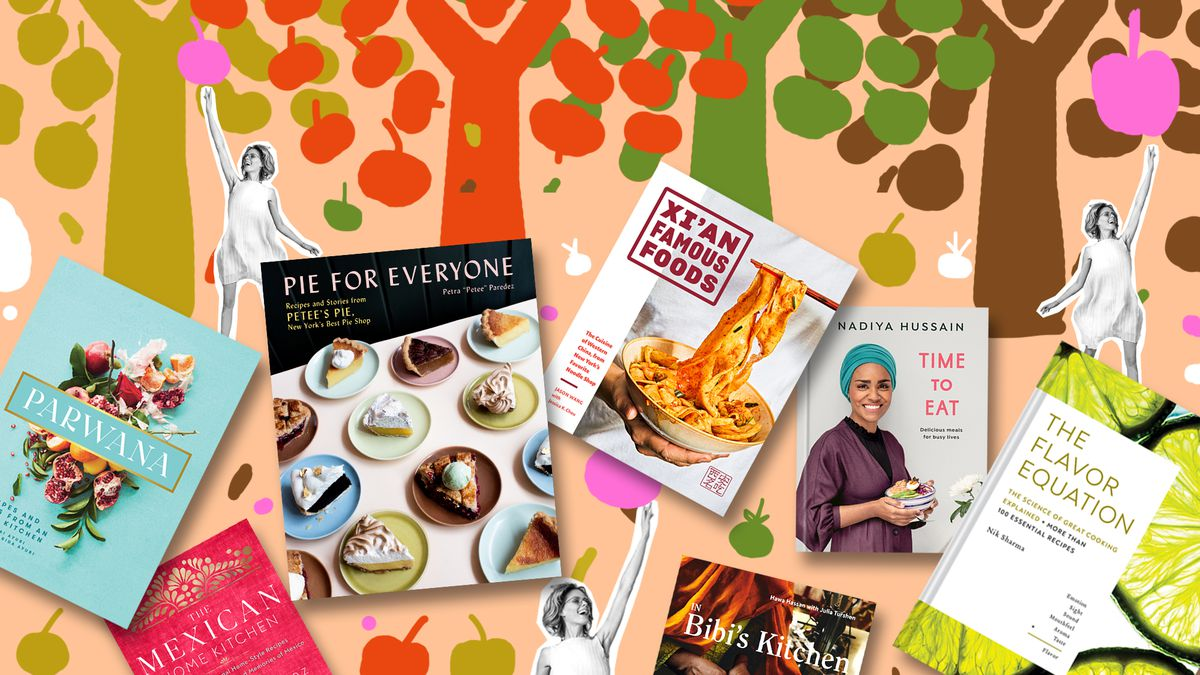 Cookbooks against an illustrated background of apple trees