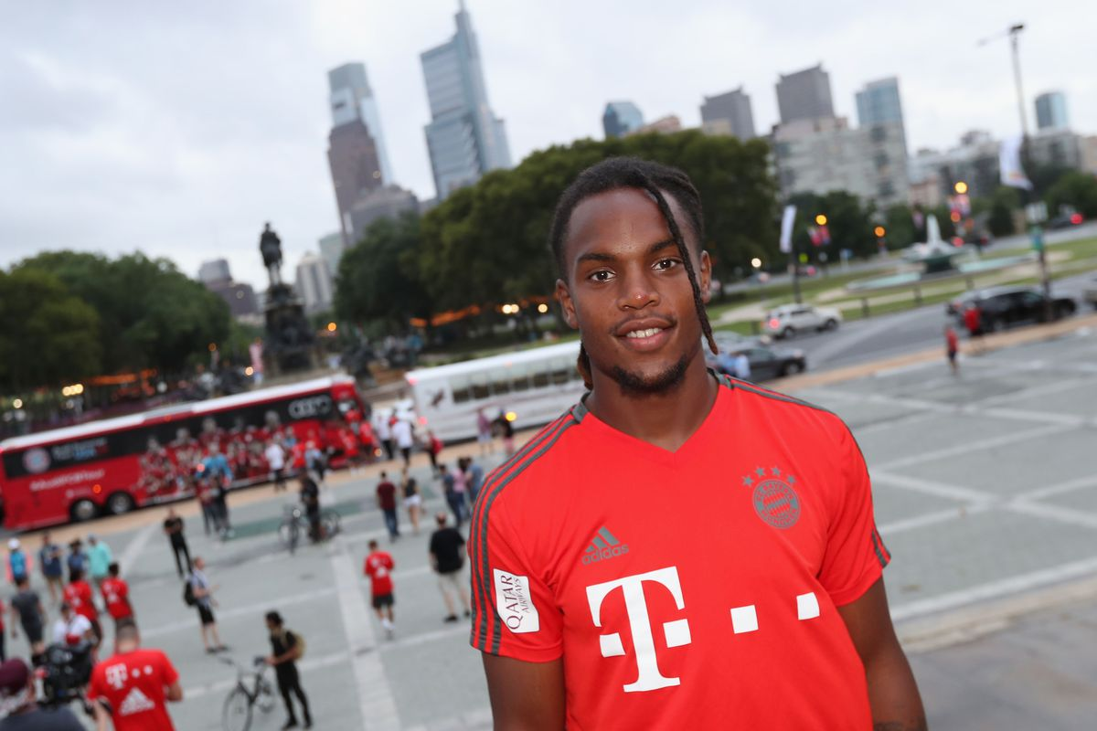 PHILADELPHIA, PA - JULY 24: Renato Sanches of FC Bayern Muenchen poses in front of the Philadelphia skyline at the Philadelphia Museum of Art on the second day of the FC Bayern AUDI Summer tour 2018 on July 24, 2018 in Philadelphia, Pennsylvania.
