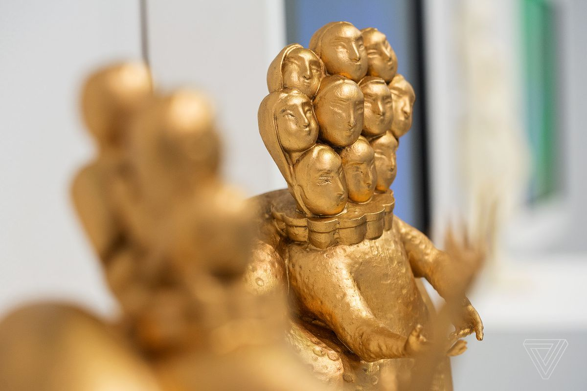 """Detail of Morehshin Allahyari's Ya'Jooj Ma'Jooj sculpture. The figure is part of the project, She Who See's The Unknown which """"recontextualizes goddesses and female Jinn of Persian and Arabic origin"""" and """"explores ancient myths as they relate to digital colonialism, oppression and catastrophe."""""""