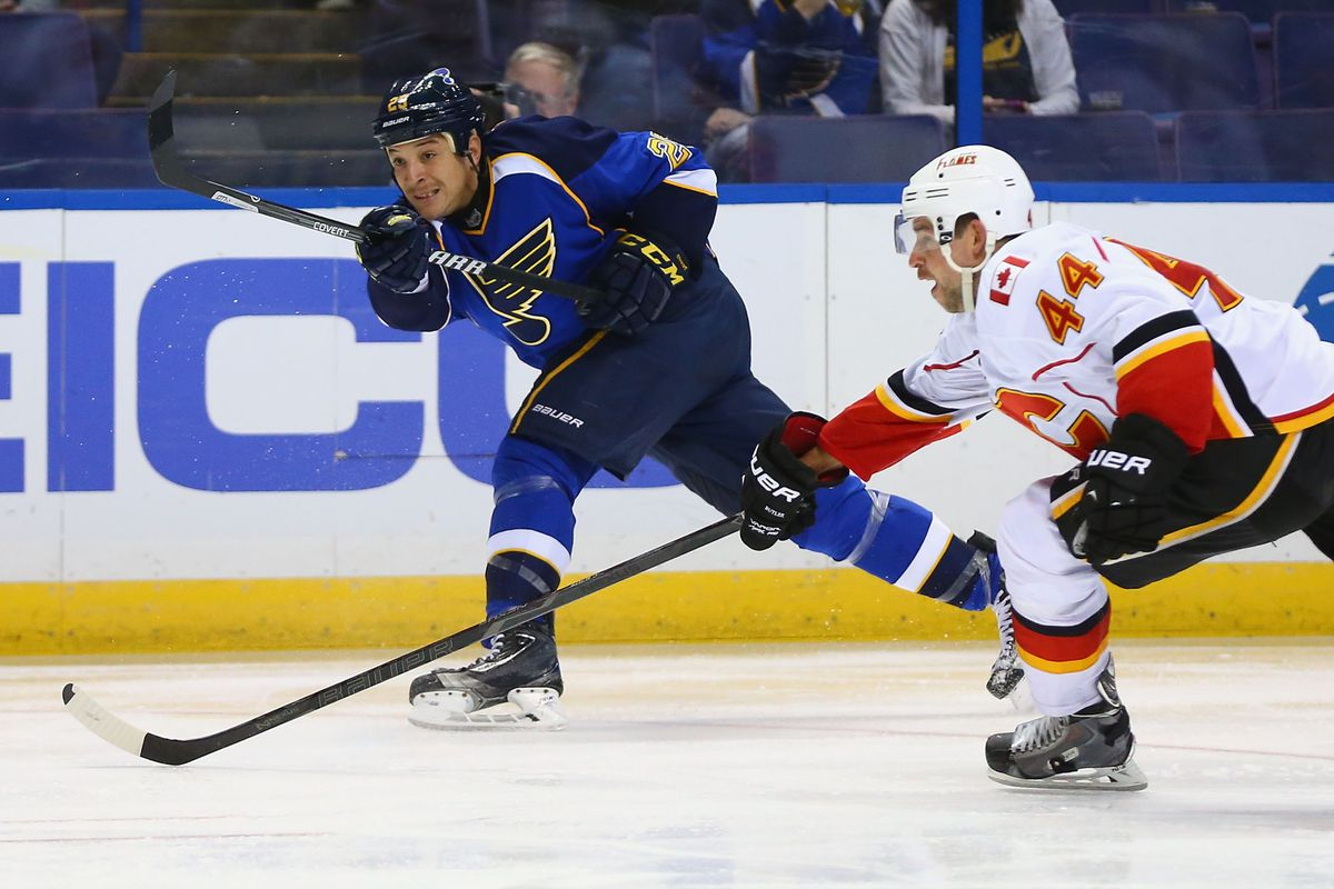 Here, a Canadian on the St Louis team skates against a St Louisan on a Canadian team.