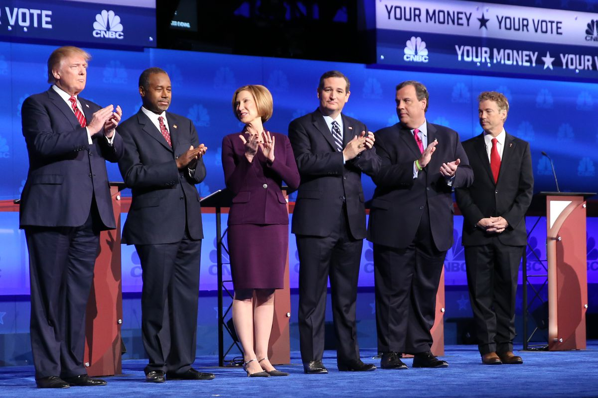 Candidates at the controversial CNBC debate.