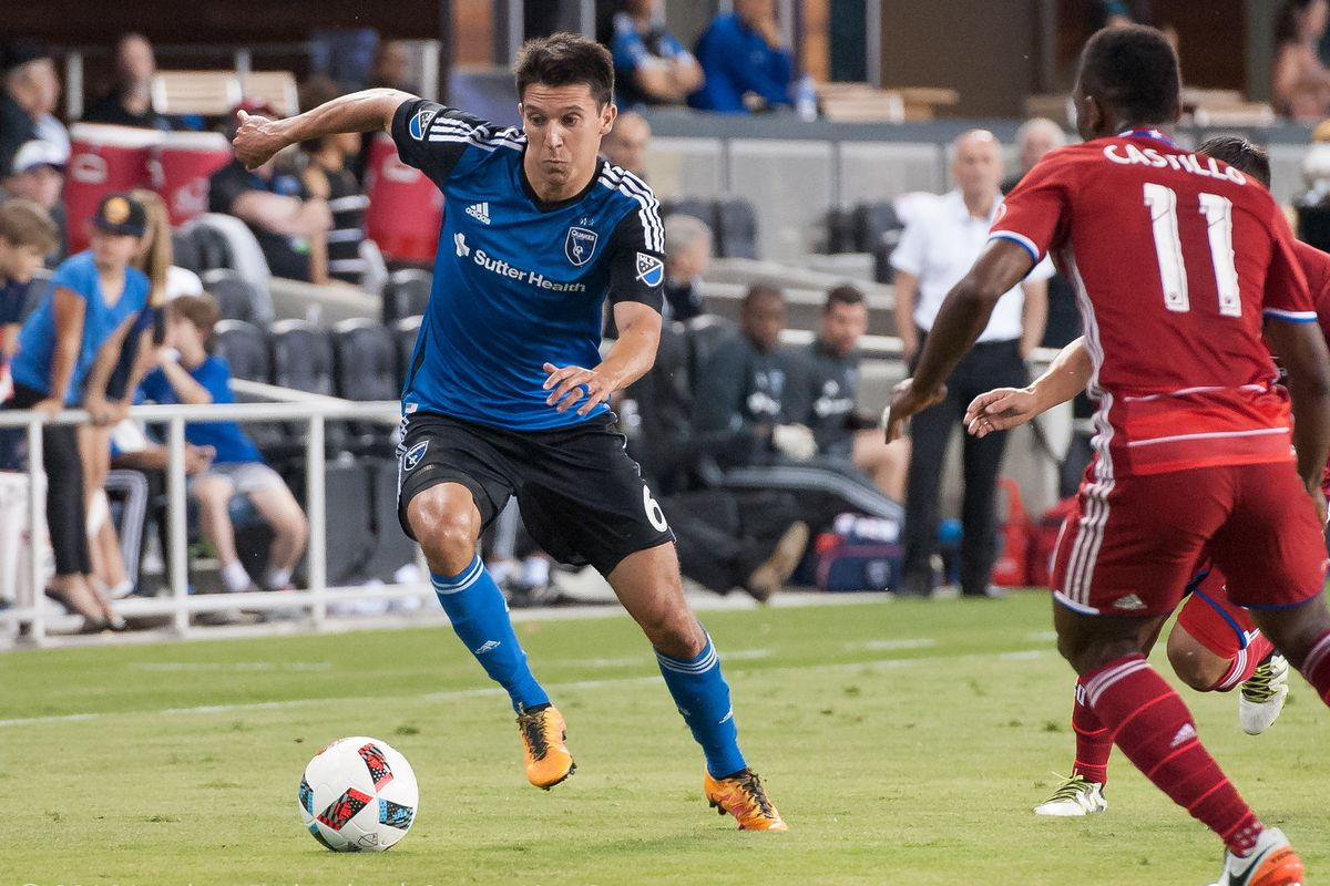 Shea Salinas running the wings for the San Jose Earthquakes