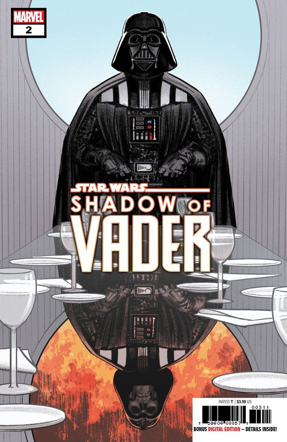 Darth Vader stands at the head of a reflective table in Cloud City, on the cover of Shadow of Vader #2, which would have been written by Chuch Wendig. Marvel Comics (never released).
