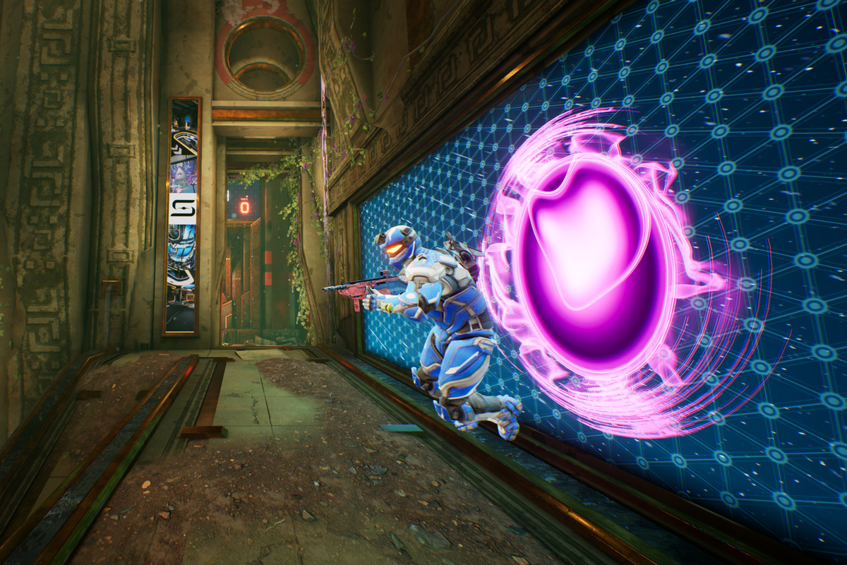 A Splitgate player emerging from a portal
